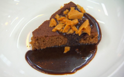 Adam's traditional Yorkshire parkin with toffee sauce and cinder toffee dessert on MasterC ...