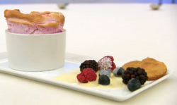 Lindsey's raspberry souffle with ice berries and white chocolate sauce on  Masterchef 2017