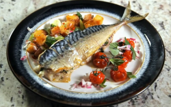 Paul's baked mackerel with salsa Verde on Yes Chef