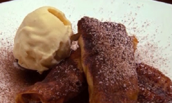 Ben's banana pancake with choc mint ice cream dessert on Masterchef Australia