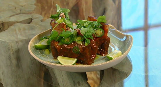 Jason Atherton  beef short ribs in barbecue sauce on Saturday Kitchen