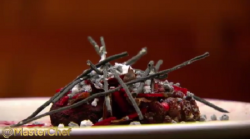 Josue Lopez 'After the Eucalypt Fire' Emu with beetroot dish on Masterchef Australia