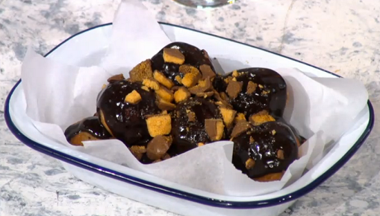 Rosie Berkitt brownie chocolate doughnut on Sunday Brunch