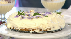 Clodagh McKenna's sweet geranium cheesecake on Sunday Brunch