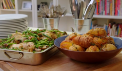 Matt Tebbutt's chicken in tarragon sauce with hasselback potatoes on Save Money: Good Food