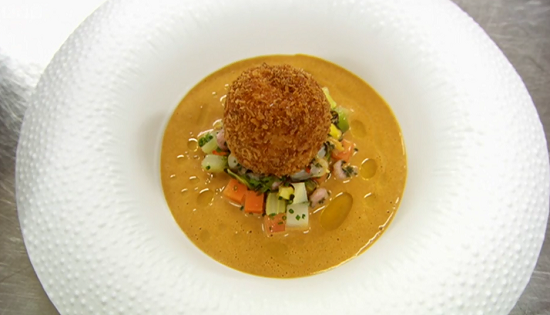 Paul Ainsworth clams and corn chowder with scotch egg of Maryland crab on MasterChef 2017 UK