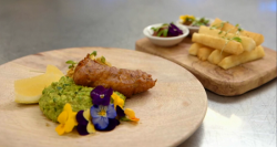 Saliha's  fish and chips with cassava and mushy peas on Masterchef 2017 UK
