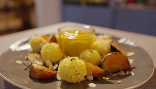 Simon Rimmer's goats cheese bonbons with beetroot on Eat the Week with Iceland