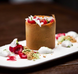 Angelique Pereto's green tea curd with coconut mousse and caramelised white chocolate in a ...