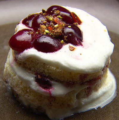 Pete Morgan's Vanilla Cherry Layer Cake with Greek Yoghurt Mousse dessert on Masterchef Au ...
