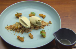 Ben's Lemongrass Ice Cream on Smashed Coconut Shortbread on Masterchef Australia 2017