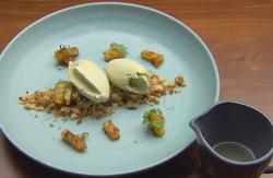 Ben's Lemongrass Ice Cream on Smashed Coconut Shortbread on Masterchef Australia 2017