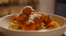Simon Rimmer's meatballs with spaghetti on  Eat the Week with Iceland