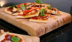 Matt Tebbutt's chicken and roast vegetable pizza planks on Save Money: Good Food