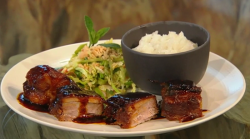 Donal's pork belly with sticky sauce on Saturday Kitchen