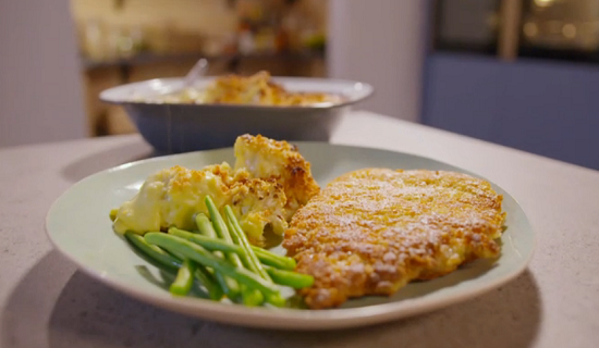 Simon Rimmer's pork schnitzel and cauliflower cheese on Eat the Week with Iceland