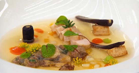 Steve's rabbit stew with rabbit sausage on Masterchef 2017 UK