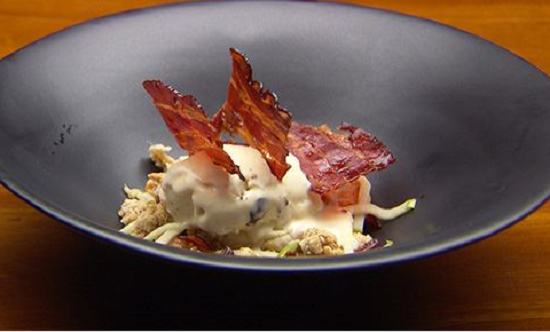 Red Team's Maple Nut Ice Cream with Maple Bacon, Maple Biscuit and Pickled Apple dessert o ...
