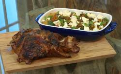Matt Tebbutt Greek roast shoulder of lamb with braised vegetables, oregano and feta cheese on Sa ...