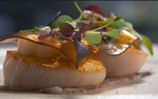 Sat Bains roast scallop with pigs head  starter on Masterchef 2017 UK