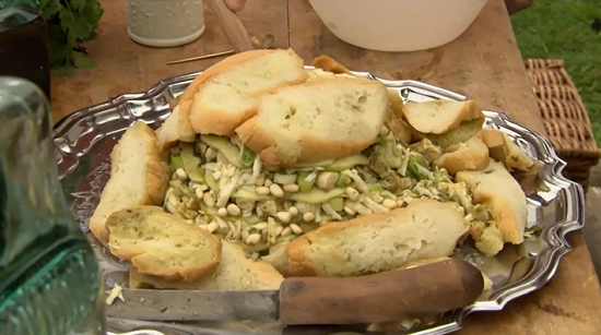 Sally Granger's Roman salad with sourdough bread on Hairy Bikers' Best of British