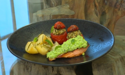 Eleonora's salmon fillets with broad bean puree, stuffed tomatoes and potatoes on Saturday ...