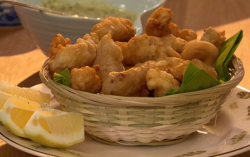 The Hairy Bikers beer battered scampi in a basket on Saturday kitchen