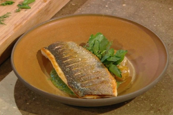 Matt Tebbutt sea bass with new potatoes and watercress salsa on Saturday Kitchen