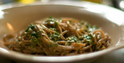 Nigella Lawson's spelt spaghetti with a no cook olives and anchovies on Saturday kitchen