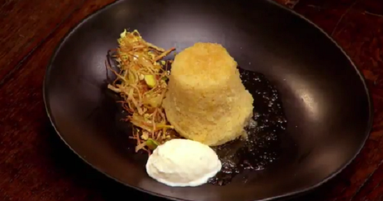 Nicole's Ginger Steamed Pudding with Yoghurt Sorbet on Masterchef Australia