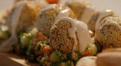 Simon Rimmer sweet potato and chickpea falafel with tabbouleh on Eat the Week with Iceland