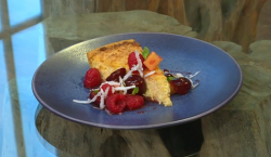 Matt's coconut and citrus tart with fruit salad on Saturday Kitchen