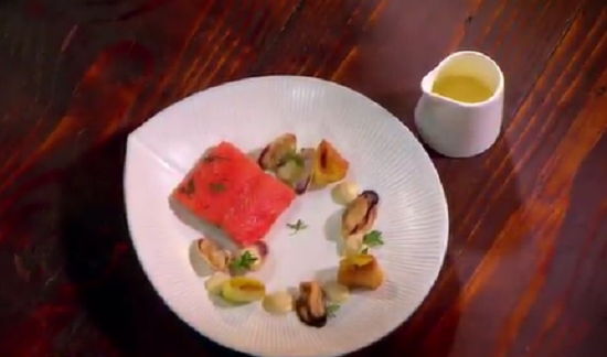 Lee's trout and confit leeks on Masterchef Australia 2017