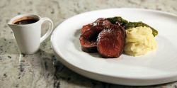 Matt's venison with mash and chocolate sauce on Yes Chef