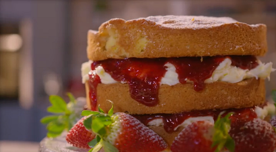 Simon Rimmer's Victoria Sponge with goats cheese and buttercream on Eat the Week with Iceland