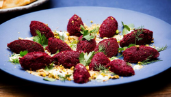 The Blue Team's Beetroot Kibbeh with Smoked Yoghurt Sauce on Masterchef Australia 2017