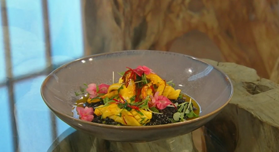 Lawrence Keogh Risotto nero with saffron chilli squid on Saturday Kitchen
