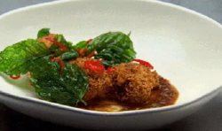 Sarah's Asian style Stuffed Chicken Wing with Szechuan Pepper Crust on Masterchef Australi ...