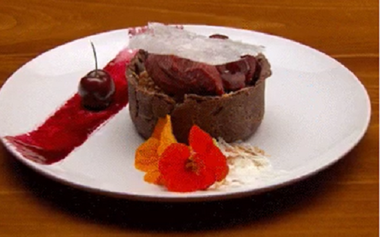 Lee's chocolate tart with cherry sorbet dessert on Masterchef Australia 2017