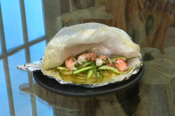 Tony Singh's en papillote of langoustines, asparagus with honey and Jersey Royal potatoes  ...