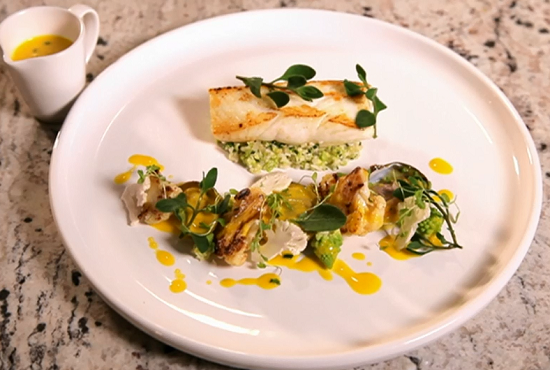Kim's halibut with cauliflower three ways and saffron beurre blanc sauce on Yes Chef