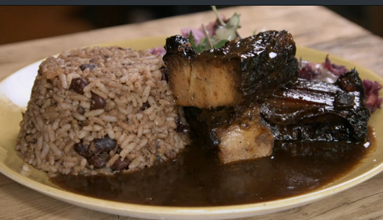 Beverley's pork with jerk sauce and rice Caribbean dish on Eat the Week with Iceland