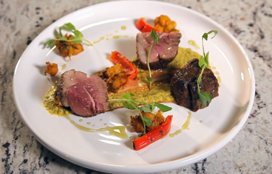 Atul Kochhar's dried spiced rump of lamb with chickpea masala and chickpea hummus on Yes Chef