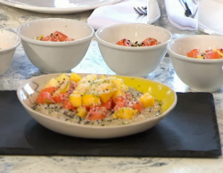 Guy and Celia's mango and papaya with coconut rice poke dessert on Sunday Brunch