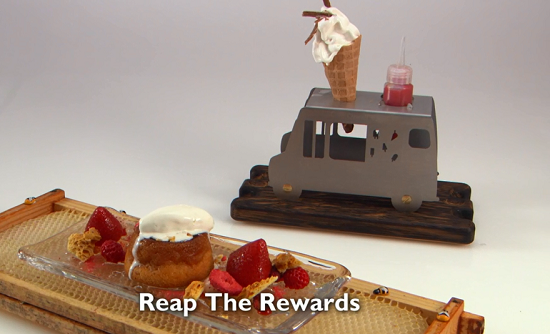 Ryan Simpson's Reap The Rewards dessert with honey sponge, strawberry sauce and ice cream  ...