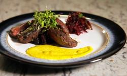 Lance's spiced pan roasted pigeon with beetroot salad on Yes Chef