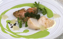 Frances Atkins hot smoked salmon with kale, truffle scallop and bergamot on Yes Chef