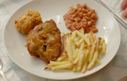 Adam's southern style chicken with chips on on Eat Well for Less?