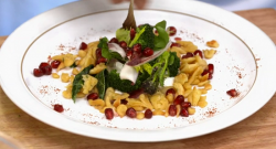 Frances Atkins German spaetzle pasta with pomegranate on Yes chef
