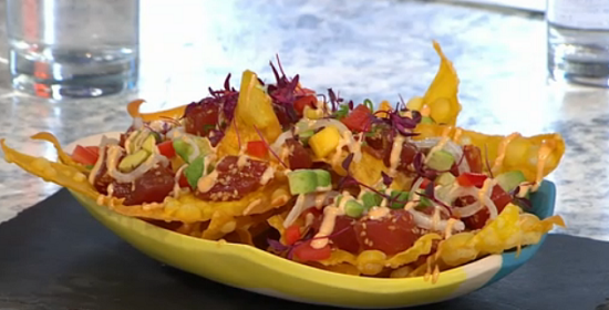 Guy Jackson and Celia Farrar's spicy ahi poke with wantons and mango salsa on Sunday Brunch
